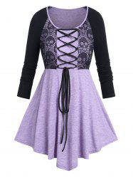 Plus Size Skull Lace Panel Lace-up Halloween Tee -