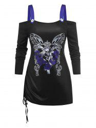 Plus Size Cold Shoulder Butterfly Skull Print Cinched T-shirt -