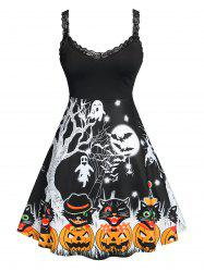 Plus Size Halloween Printed Fit and Flare Dress -