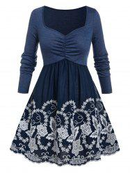Plus Size Flower Embroidered Ruched T-shirt -