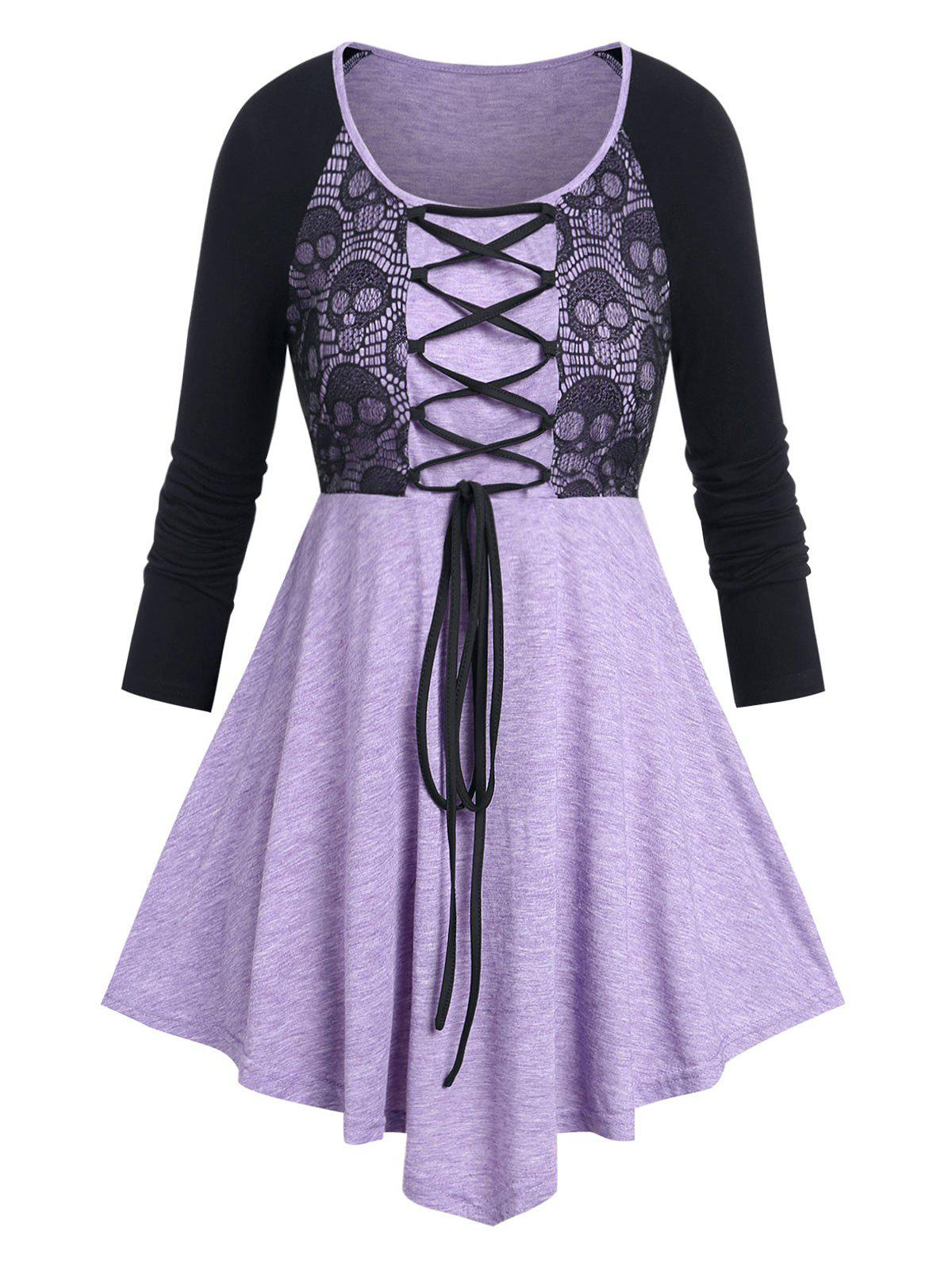 Hot Plus Size Skull Lace Panel Lace-up Halloween Tee
