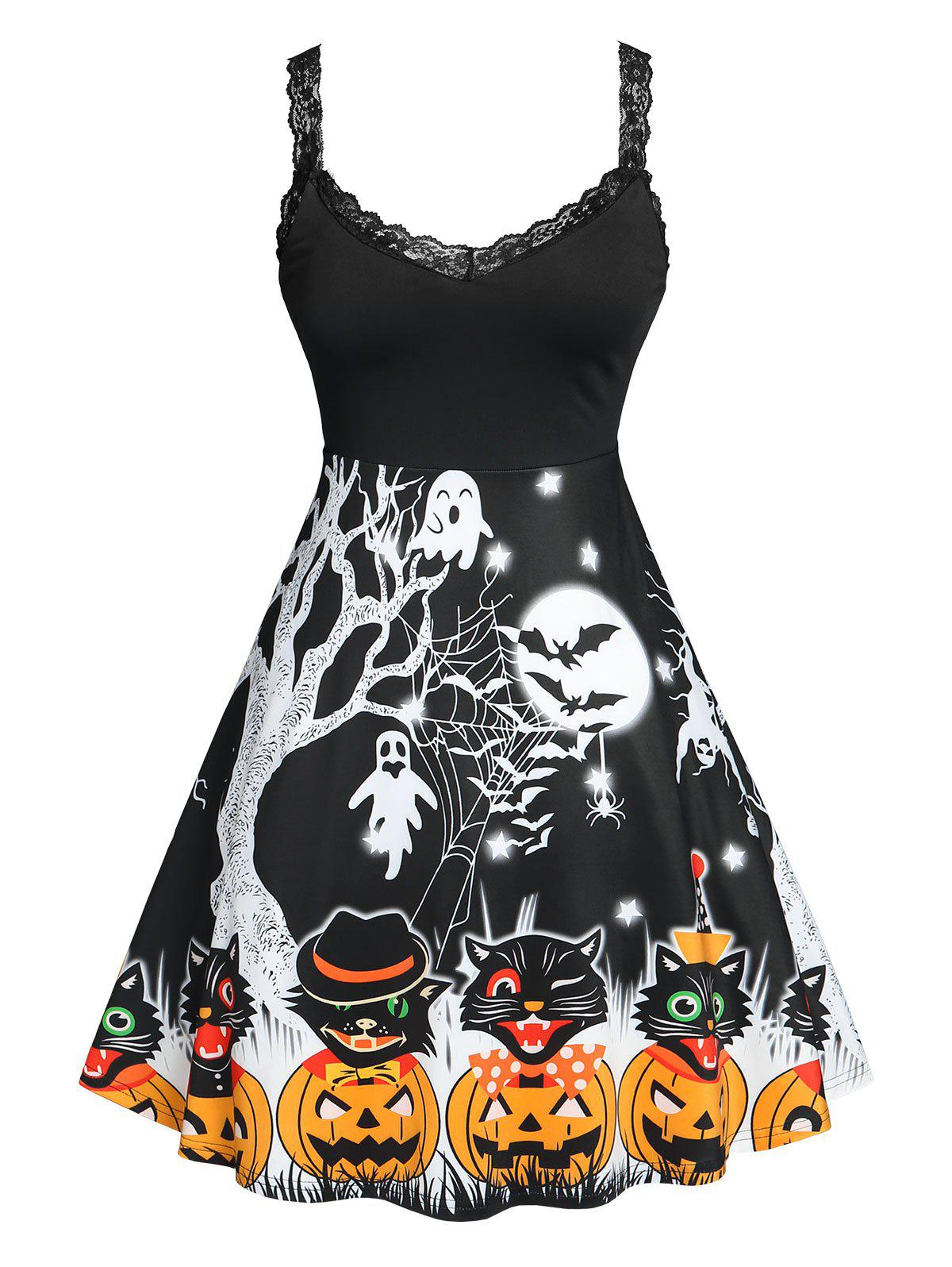 Unique Plus Size Halloween Printed Fit and Flare Dress