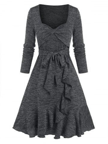 Front Twist Flounce Ribbed Flare Dress