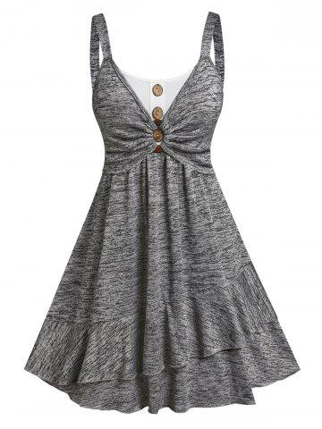 Button Ruched Bust Layered Flounce Dress