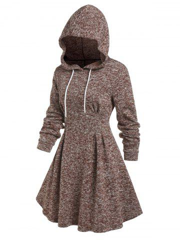 Hooded Knitted Mix Color Flare Dress