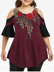 Plus Size Cold Shoulder Embroidery T Shirt -