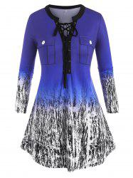 Plus Size Lace Up Ombre Print Flap Detail Tunic Tee -