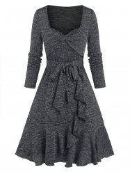 Front Twist Flounce Ribbed Flare Dress -