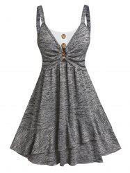 Button Ruched Bust Layered Flounce Dress -