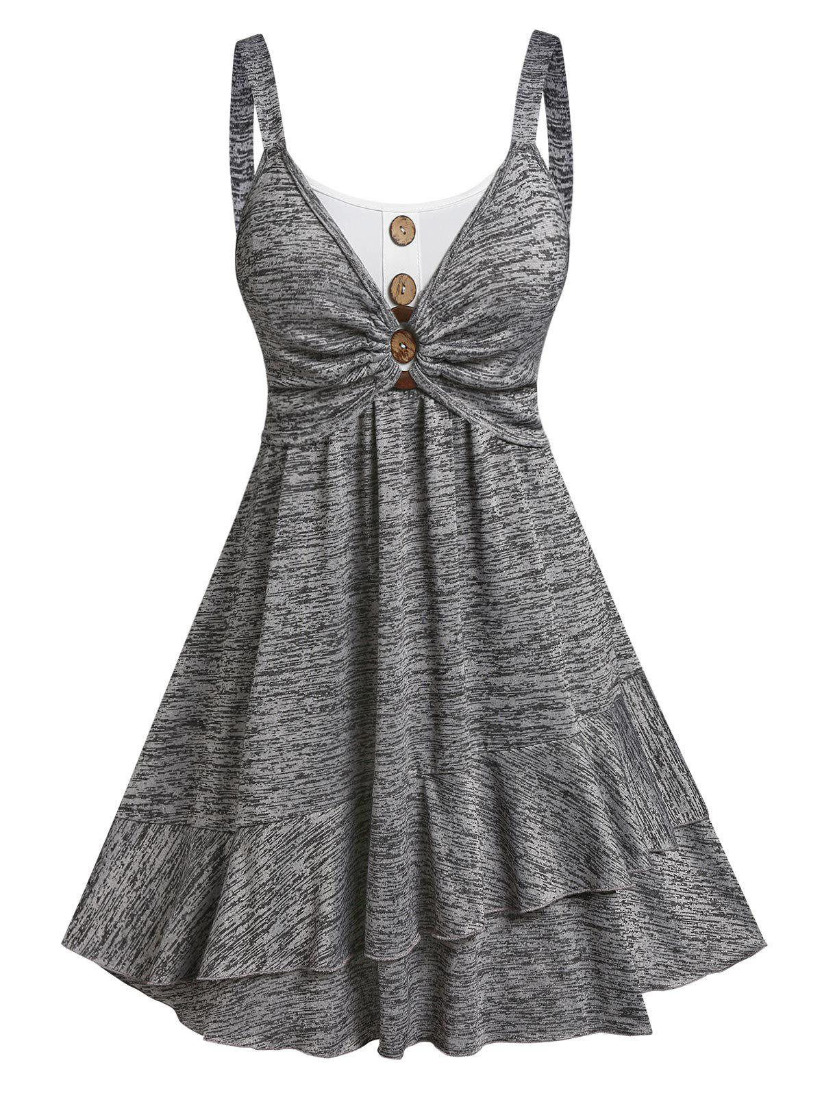 Chic Button Ruched Bust Layered Flounce Dress