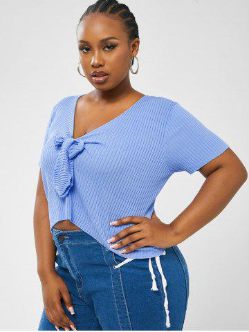 Plus Size V Neck Knotted Knit Top