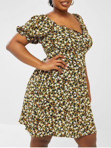 Plus Size Ditsy Floral Frilled Puff Sleeve Shirred Back Dress - BLACK - 2XL