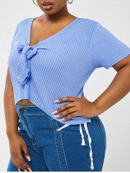 Plus Size V Neck Knotted Knit Top -