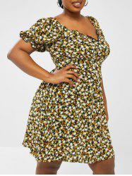 Plus Size Ditsy Floral Frilled Puff Sleeve Shirred Back Dress -