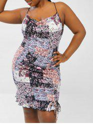 Plus Size Cowl Neck Floral Patchwork Print Ruched Slinky Ruffle Dress -
