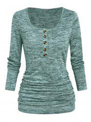 Half Button Heathered Ruched T Shirt -