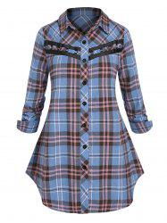 Plus Size O Ring Plaid Button Up Blouse -