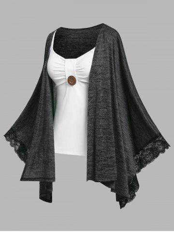 Plus Size Lace Trim Batwing Sleeve Handkerchief Cardigan and Tank Top