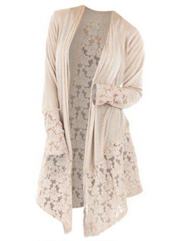 Plus Size Lace Panel See Thru Open Front Tunic Cardigan - LIGHT YELLOW - XL