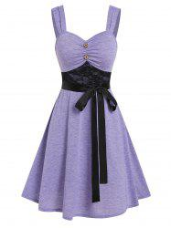 Lace Insert Mock Button Belted Dress -