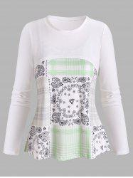 Plus Size Handkerchief Print Cami Top and Cropped Top -