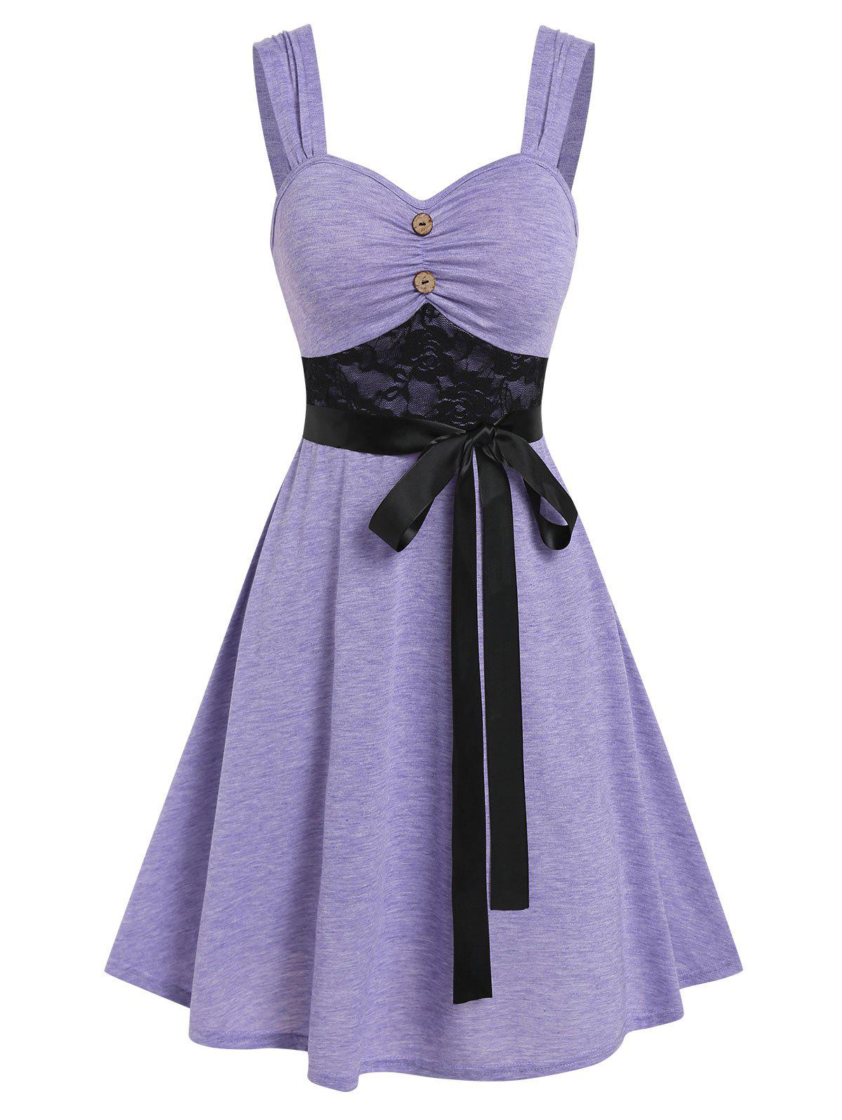 Store Lace Insert Mock Button Belted Dress