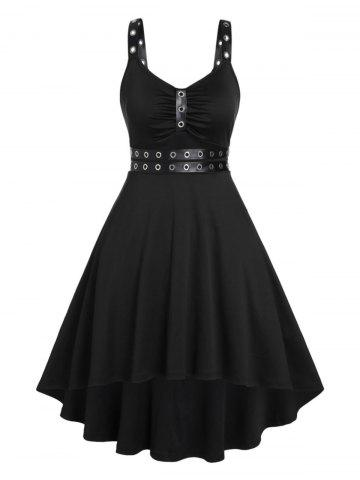 Plus Size Punk Eyelets Ruched High Low Dress