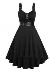 Plus Size Punk Eyelets Ruched High Low Dress -