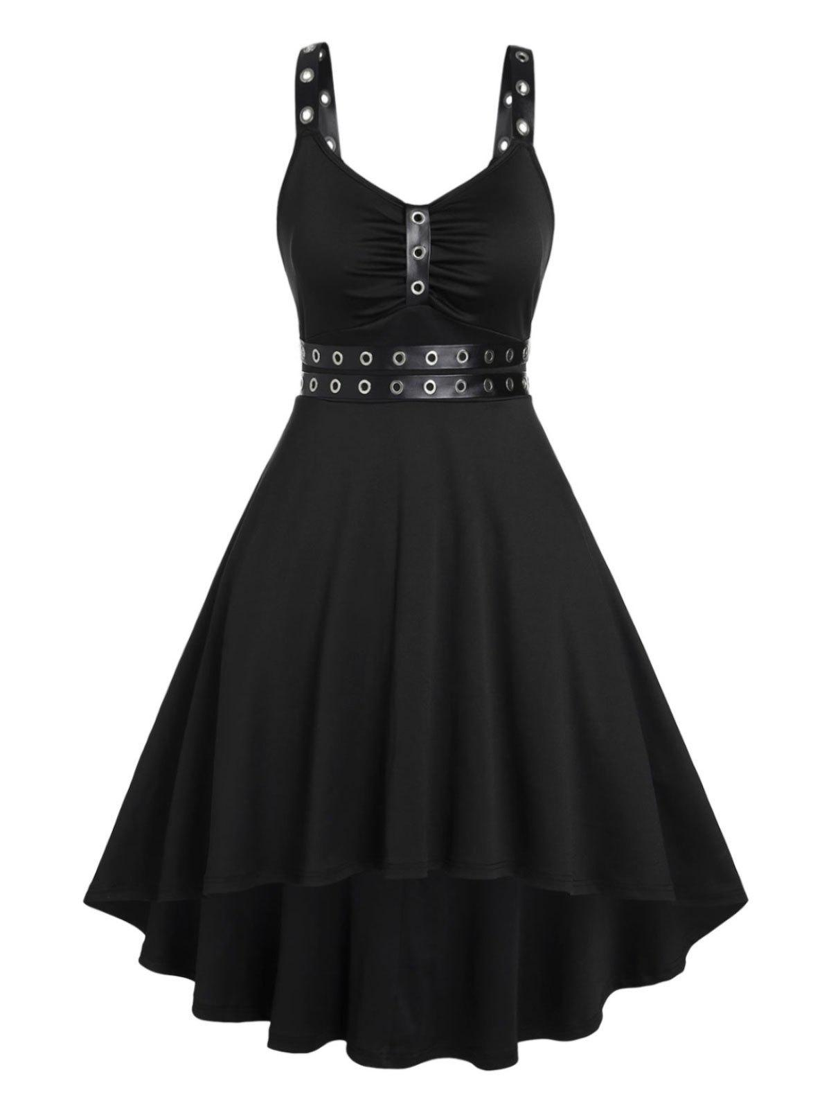 Outfits Plus Size Punk Eyelets Ruched High Low Dress