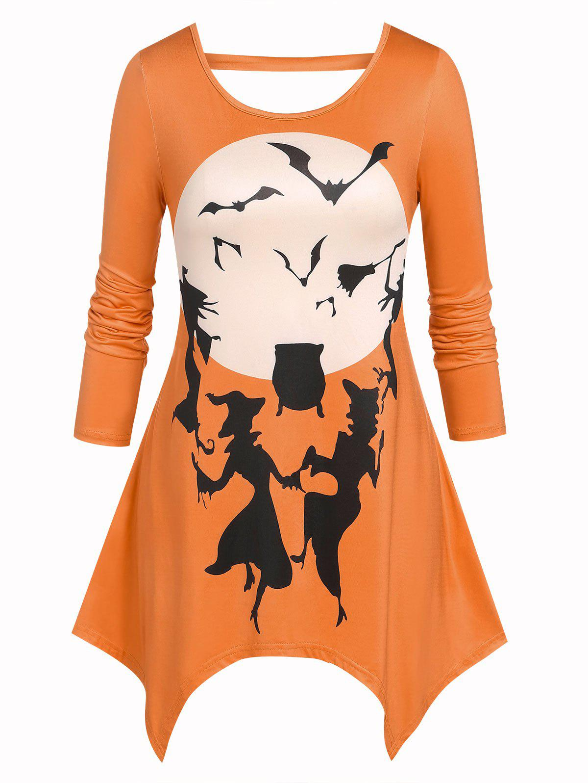 Outfits Plus Size Witch Bat Printed Handkerchief T Shirt