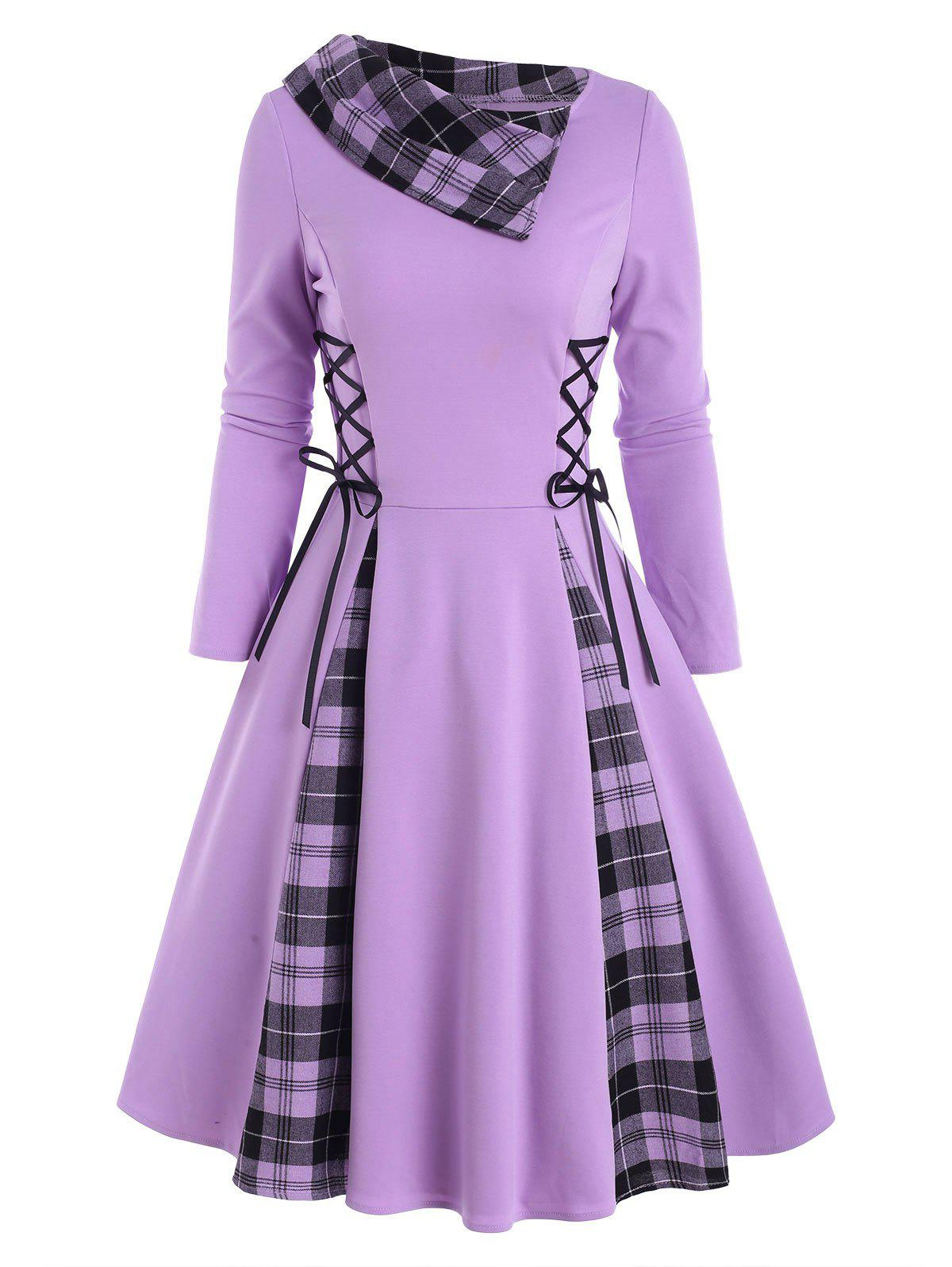Online Lace Up Plaid Turn Down Collar Dress