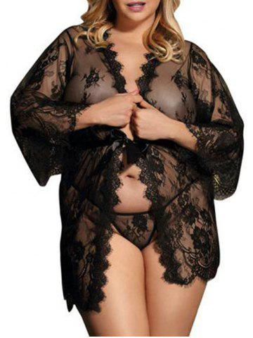 Plus Size See Through Lace Lingerie Robe and T-back - BLACK - L
