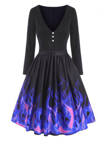 Mock Button Flame Print Plunging Dress