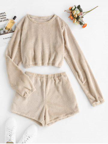 Lounge Fluffy Fleece Cropped Top and Shorts Set