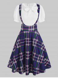 Mock Button Plaid Pussybow Dress -