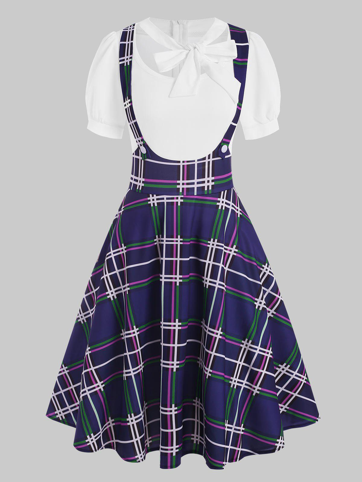 Trendy Mock Button Plaid Pussybow Dress