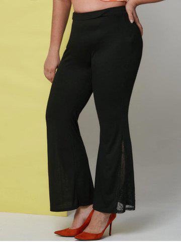 Plus Size High Rise Lace Insert Bell Bottom Pants