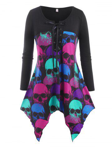 Lace Up Colorful Skull Halloween Plus Size Top - BLACK - 5X