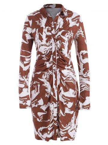 Abstract Marble Print Ruched Plus Size Shirt Dress - DEEP COFFEE - 3XL