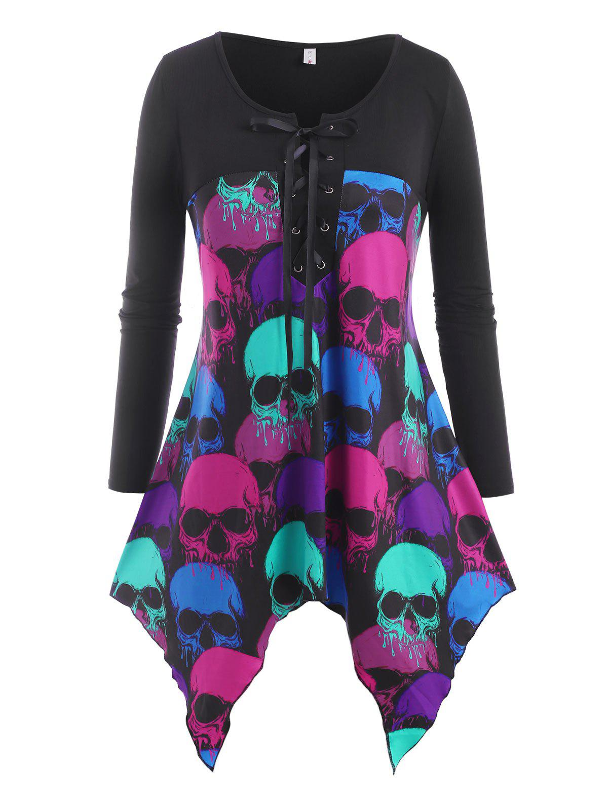 Affordable Lace Up Colorful Skull Halloween Plus Size Top