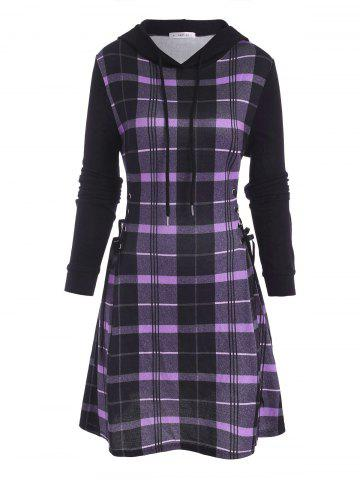 Hooded Plaid Lace Up Jersey Dress