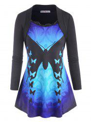 Scalloped Lace Trim Butterfly Shrug-style Plus Size Top -