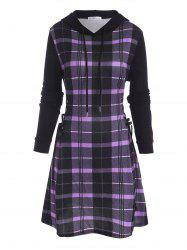 Hooded Plaid Lace Up Jersey Dress -