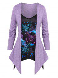 Letters Butterflies Print Heathered Faux Twinset T-shirt -