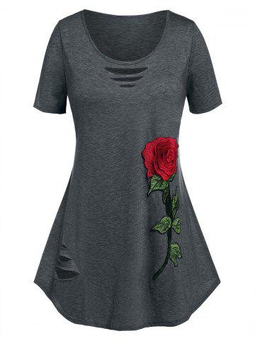 Plus Size Flower Embroidered Ripped Short Sleeve Tee - GRAY - 1X