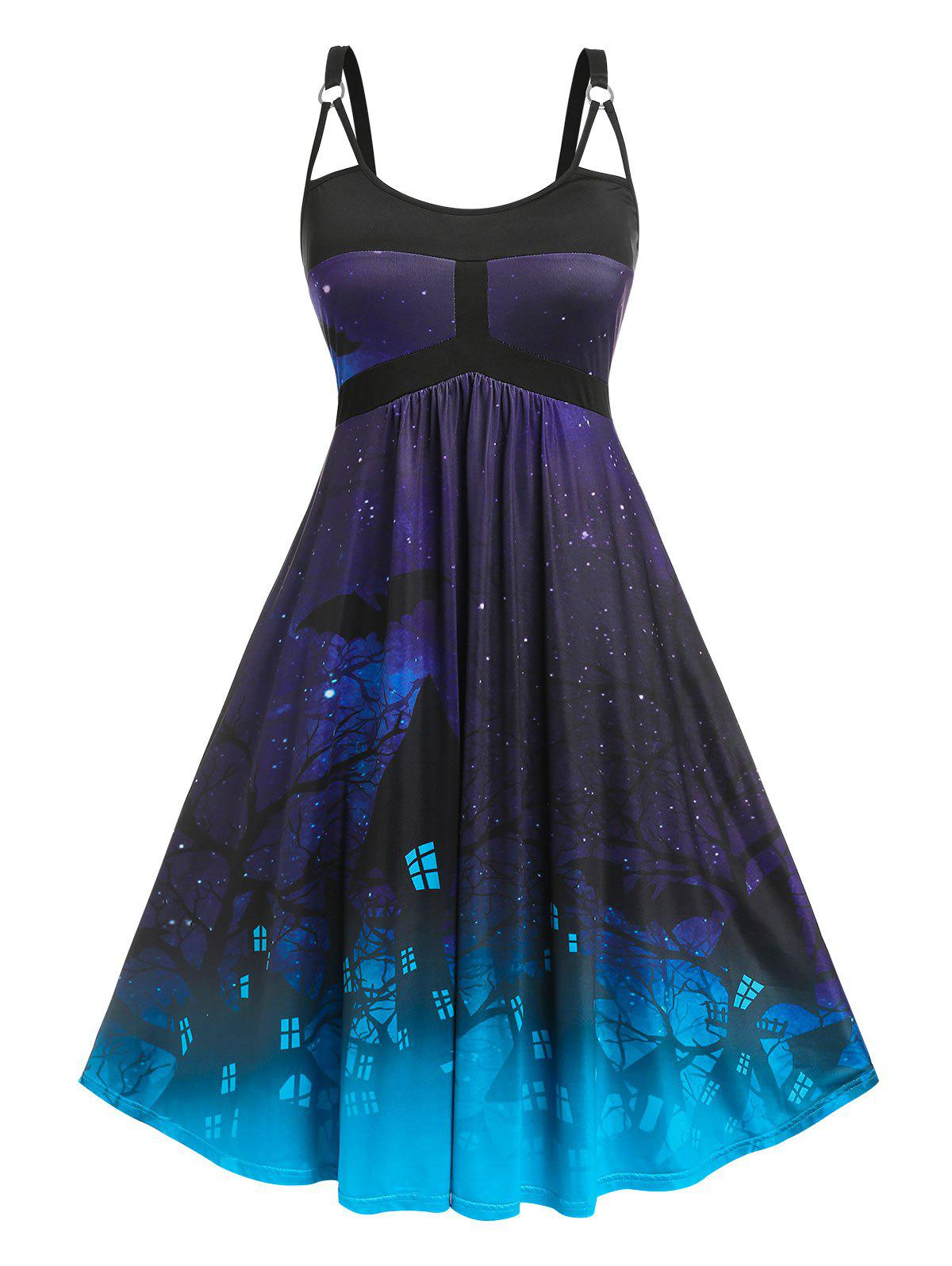 Outfits Plus Size O Ring Cutout Halloween Print Dress