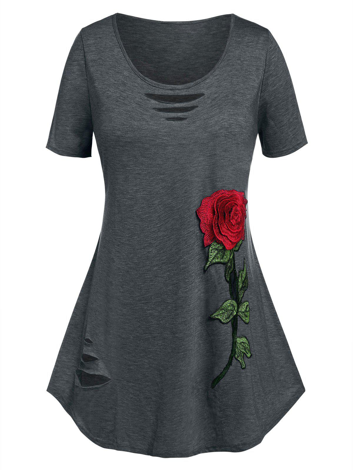 Shop Plus Size Flower Embroidered Ripped Short Sleeve Tee