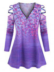 Plus Size Zippered V Neck Floral Ladder Cutout Tunic Top -