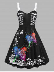 Plus Size Butterfly Print Fit and Flare Dress -