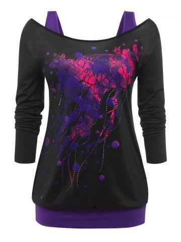 Plus Size Printed Cutout 2 in 1 Tee - BLACK - L